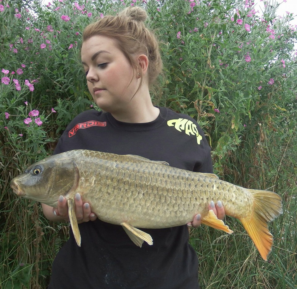 A photo of Mark's 'Mrs' with a nice carp