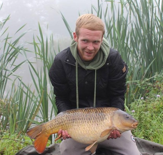A photo of Luke James at Elton with a carp.