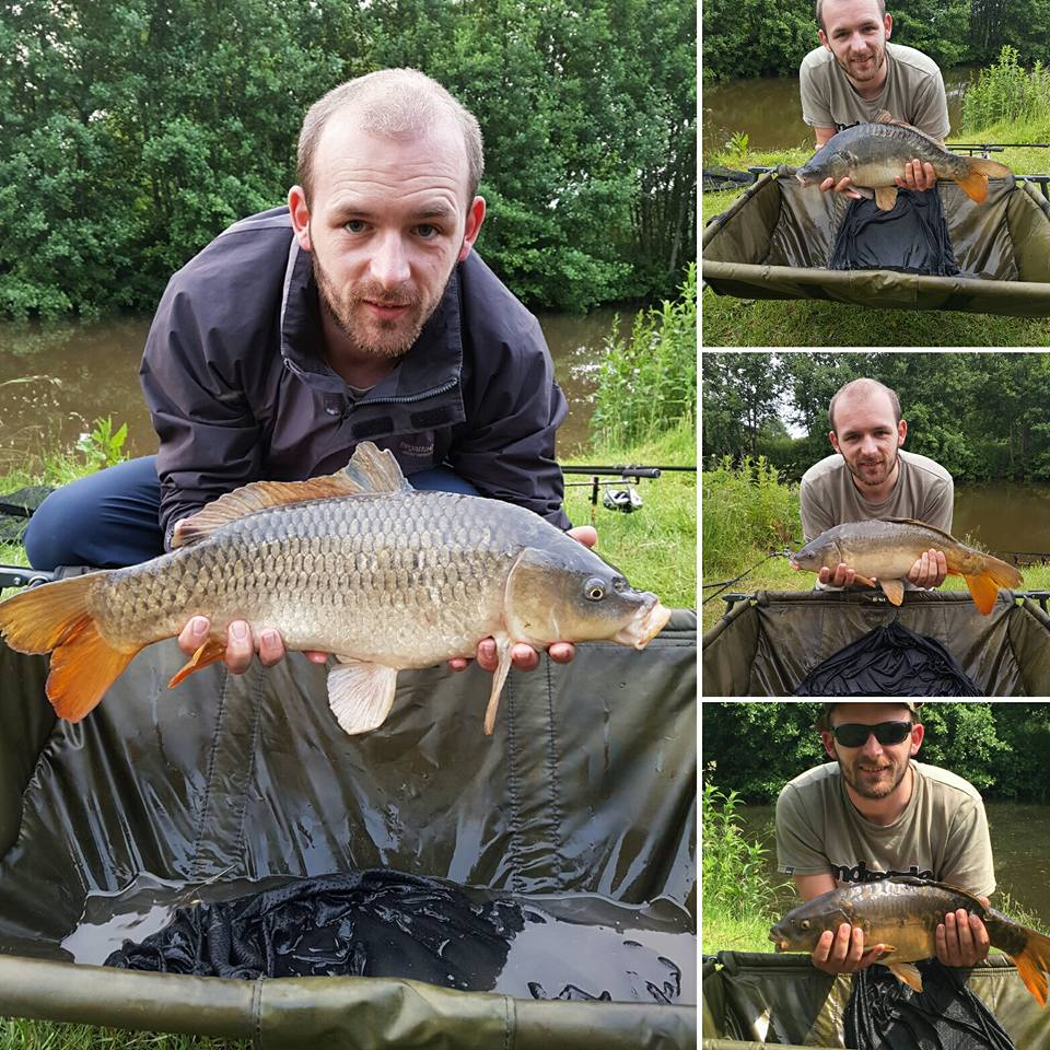A photo of Ryan and Martin with few of the carp they caught on bloodworm